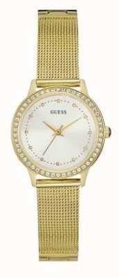 Guess Womans Chelsea Gold Mesh Strap White Dial Stone Set W0647L7