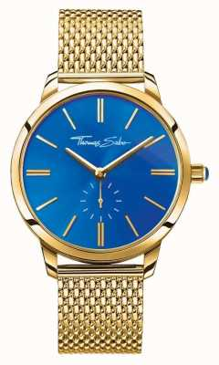 Thomas Sabo Womans Glam Spirit Stainless Steel Gold Mesh Strap Blue Dial WA0274-264-209-33