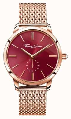 Thomas Sabo Womans Glam Spirit Steel Rose Gold Mesh Strap Red Dial WA0276-265-212-33