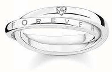 Thomas Sabo Sterling Silver Interlinked Heart Together Ring 56 D_TR0017-725-14-56