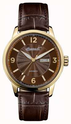 Ingersoll Mens 1892 The Regent Brown Leather Strap Brown Dial I00201