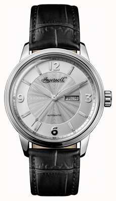 Ingersoll Mens 1892 The Regent Black Leather Strap Silver Dial I00202