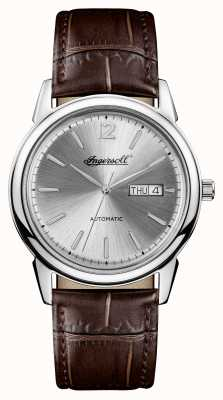 Ingersoll Mens 1892 The New Haven Brown Leather Strap Silver Dial I00501