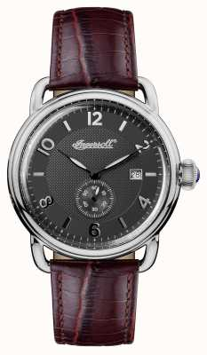 Ingersoll Mens 1892 The New England Brown Leather Strap Grey Dial I00801