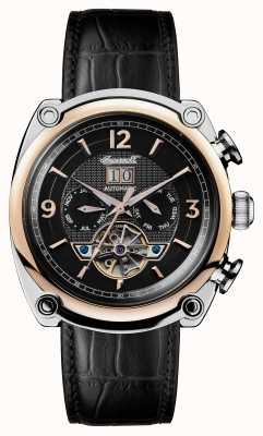 Ingersoll Mens 1892 The Michigan Black Leather Strap Black Dial I01102