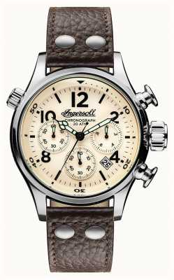 Ingersoll Mens Discovery The Armstrong Brown Leather Strap Cream Dial I02002