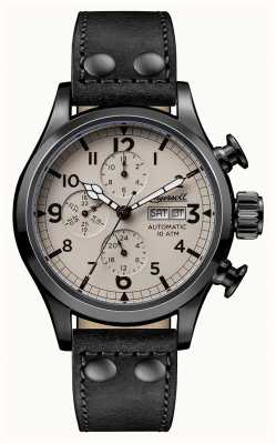 Ingersoll Mens Discovery The Armstrong Black Leather Strap Beige Dial I02202