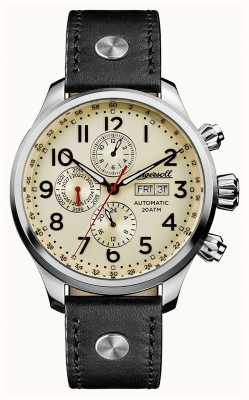 Ingersoll Mens Discovery The Delta Grey Leather Strap Cream Dial I02301