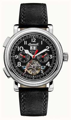 Ingersoll Mens Discovery The Bloch Black Leather Strap Black Dial I02603