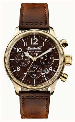 Ingersoll Mens Discovery The Apsley Brown Leather Strap Brown Dial I03802