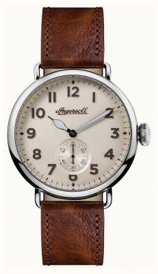 Ingersoll Mens Chronicle The Trenton Brown Leather Strap Cream Dial I03301
