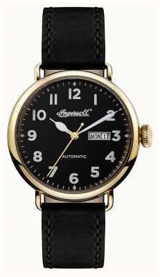 Ingersoll Mens Chronicle The Trenton Black Leather Strap Black Dial I03401