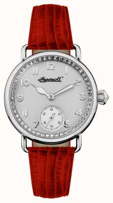 Ingersoll Womens Chronicle The Trenton Red Leather Strap Silver Dial I03601