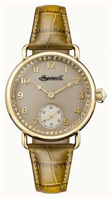 Ingersoll Womens Chronicle The Trenton Green Leather Strap Grey Dial I03603