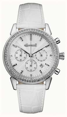 Ingersoll Womens Chronicle The Gem White Leather Strap White Dial I03901