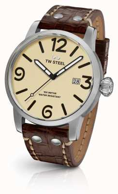 TW Steel Mens Maverick Cream Sandwich Dial Brown Leather Strap 45mm MS21