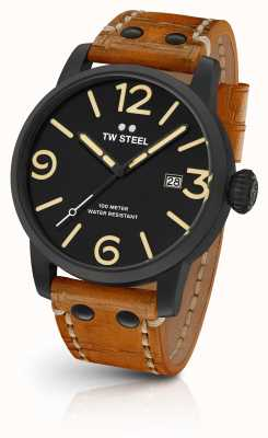TW Steel Mens Maverick Black Sandwich Dial Tan Leather Strap 48mm MS32