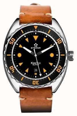 Eterna Mens Super Kontiki Automatic Brown Leather Strap Black Dial 1273.41.49.1363
