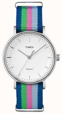 Timex Ladies Weekender Fairfax Blue Pink Green Strap TW2P91700