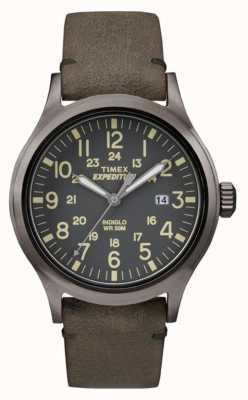 Timex Mens Scout Black Dial Grey Leather Strap TW4B01700