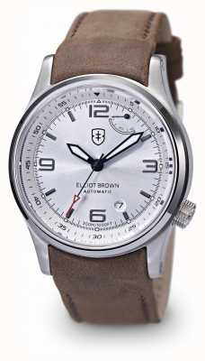 Elliot Brown Mens Tyneham Brown Leather Strap Silver Dial 305-003-L12