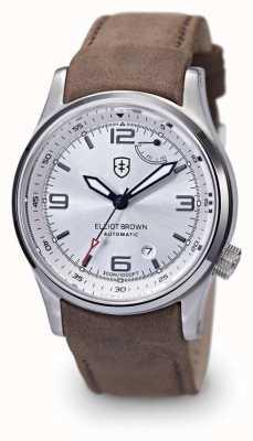 Elliot Brown Mens Tyneham Brown Leather Silver Dial Display Caseback 305-D03-L12
