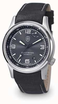 Elliot Brown Mens Tyneham Black Leather Strap Black Dial 305-005-L15
