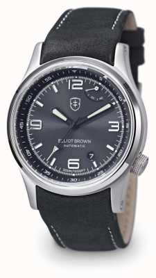 Elliot Brown Mens Tyneham Grey Leather Black Dial Display Caseback 305-D05-L15