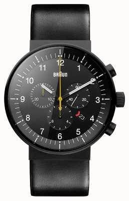 Braun Mens Prestige Chronograph Black Leather Strap Black Dial BN0095BKG