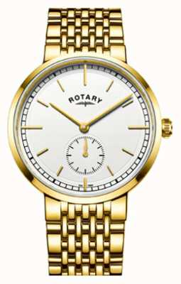 Rotary Mens Canterbury Gold Tone Stainless Steel White Dial GB05062/02