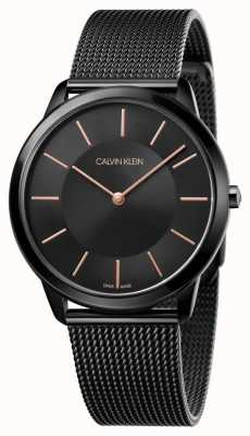 Calvin Klein Mens Minimal Watch | Black Stainless Steel Mesh Strap | K3M21421