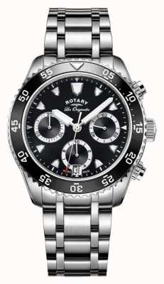 Rotary Mens Les Originales Stainless Steel Black Dial GB90170/04