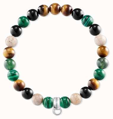 Thomas Sabo Black green Borwn Sterling Silver Charm Bracelet X0217-947-7-L15,5