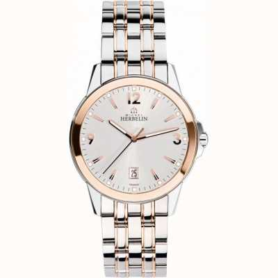 Michel Herbelin Mens Ambassador Rose Gold PVD Bracelet Watch 12250/BTR12