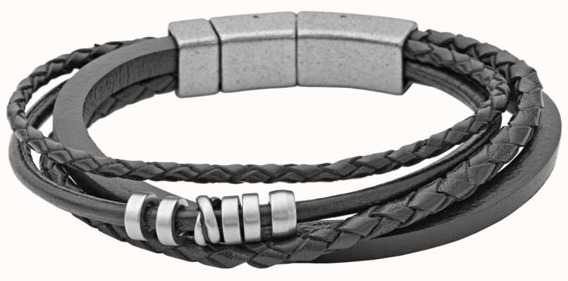 Fossil Mens Leather Stainless Steel Bracelet JF85299040