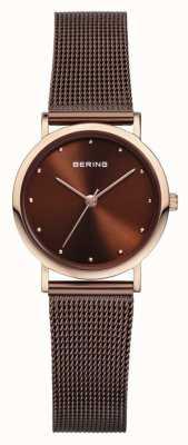 Bering Womans Stainless Steel Brown Mesh Strap 13426-265