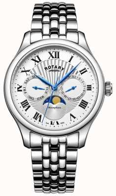Rotary Mens Moonphase Stainless Steel Silver Watch GB05065/01