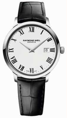 Raymond Weil Mens Slim White Black Leather Strap 5488-STC-00300