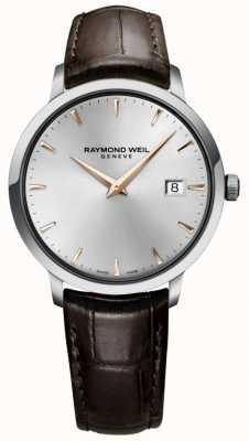 Raymond Weil Mens Slim Silver Brown Leather Strap 5488-SL5-65001