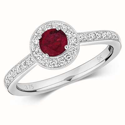 Treasure House 9k White Gold Round Ruby Diamond Cluster Ring RD414WR