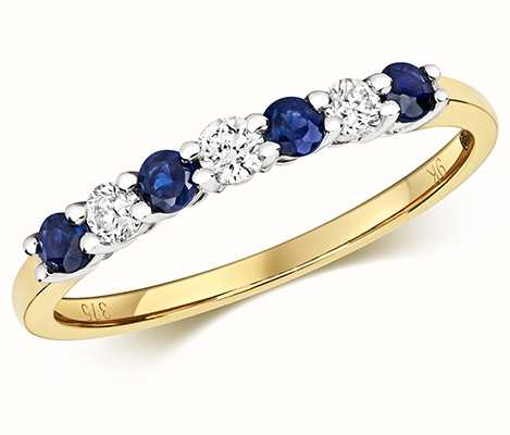 Treasure House 9k Yellow Gold Diamond and Sapphire Claw Set Eternity Ring RD438S