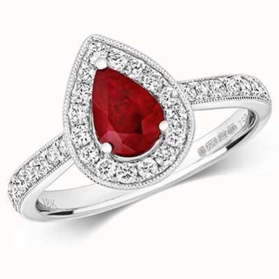 Treasure House 18k White Gold Pear Ruby Diamond Cluster Ring RDQ418WR