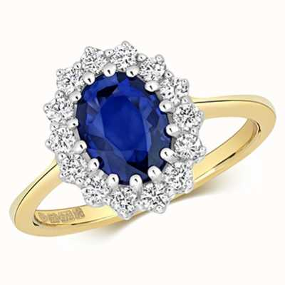 Treasure House 9k Yellow Gold Diamond Sapphire Cluster Ring RD280S