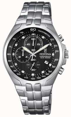 Festina Mens Chronograph Stainless Steel Bracelet Black Dial F6843/4