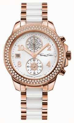 Thomas Sabo Ladies Glam Chrono Ceramic Gold/White WA0173-262-202-38