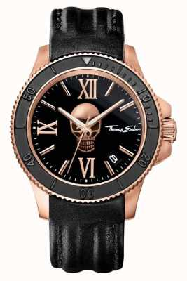 Thomas Sabo Mens Rebel Icon Black Leather Skull Dial WA0279-213-203-44