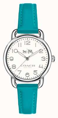 Coach Womens Delancey Blue Leather Strap White Dial 14502611