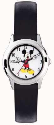 Disney Adult Mickey Mouse Silver Case Black Strap MK1314