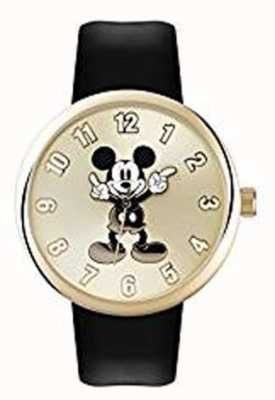 Disney Adult Mickey Mouse Gold Case Black Strap MK1443