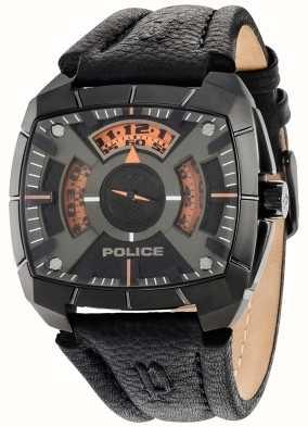 Police Mens G Force Black Leather Strap Black Dial 14796JSU/02